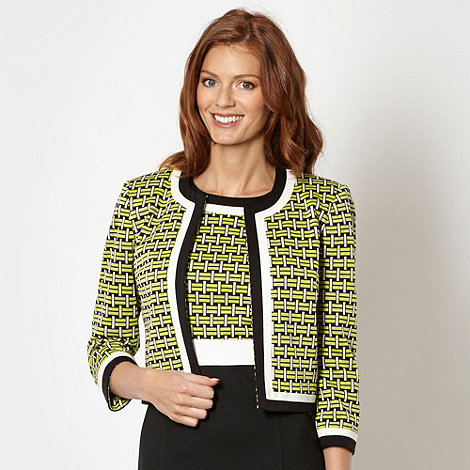 The Collection - Lime geometric pattern cropped jacket