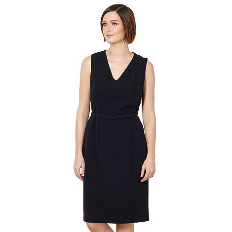 The Collection - Navy smart belted dress