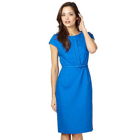 The Collection Petite - Petite bright blue linen blend scalloped front dress