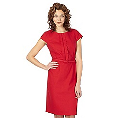 The Collection - Red linen blend scalloped front dress