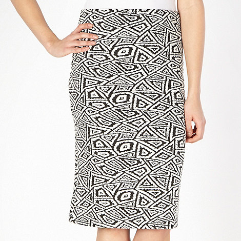 The Collection - Black aztec jacquard skirt
