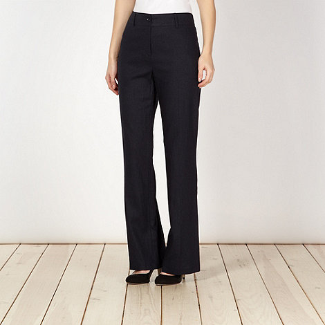 The Collection - Navy plain linen blend trousers