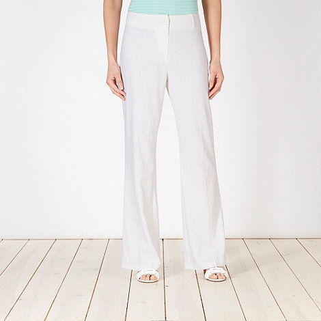 The Collection Petite - Petite white linen mix bootcut trousers