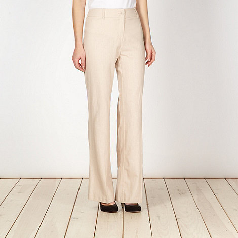 The Collection - Natural plain linen blend trousers