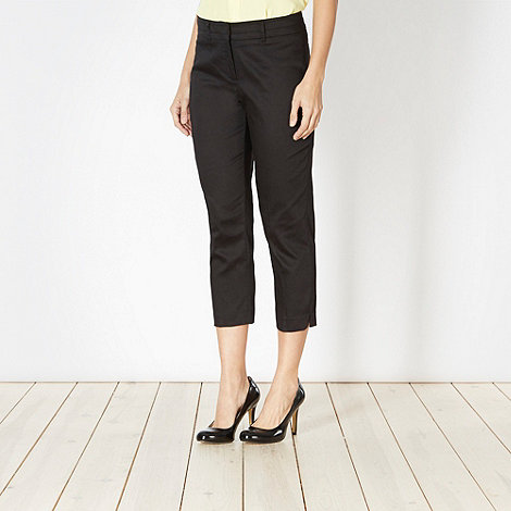 The Collection Petite - Petite black cropped sateen trousers