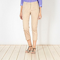 The Collection - Natural cropped sateen trousers