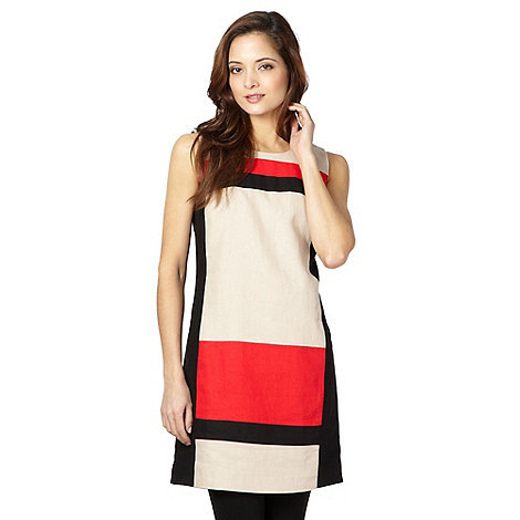 The Collection - Coral colour block linen blend dress
