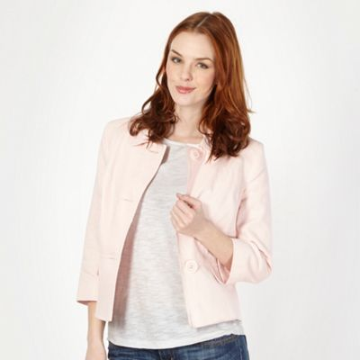 Pale pink linen blend tailored jacket