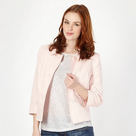 The Collection - Pale pink linen blend tailored jacket