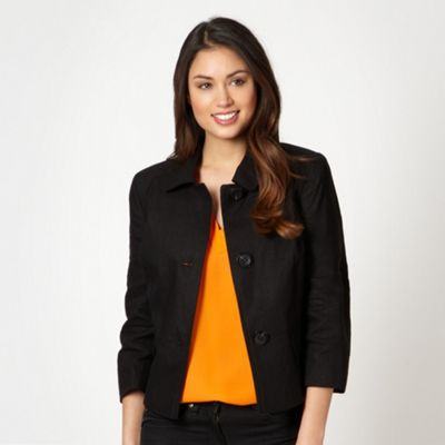 Black linen blend tailored jacket