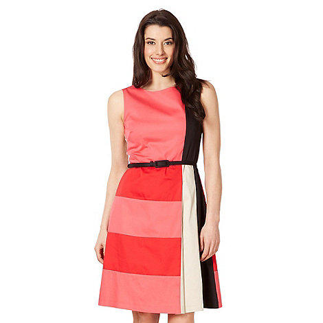 The Collection - Coral colour block pleat dress