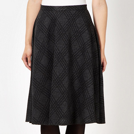The Collection Petite - Petite black checked wide hem midi skirt