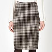 Petite black checked pencil skirt