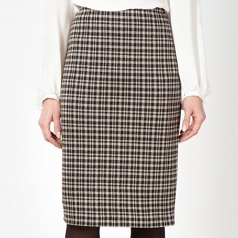 The Collection Petite - Petite black checked pencil skirt