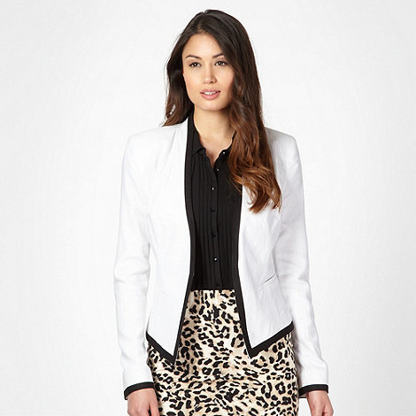 The Collection - White linen blend trim jacket