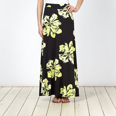 The Collection - Lime floral maxi skirt