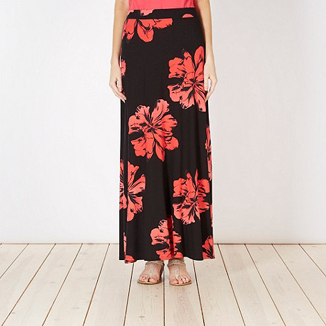 The Collection - Coral floral maxi skirt