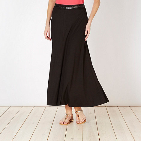 The Collection - Black jersey belted maxi skirt