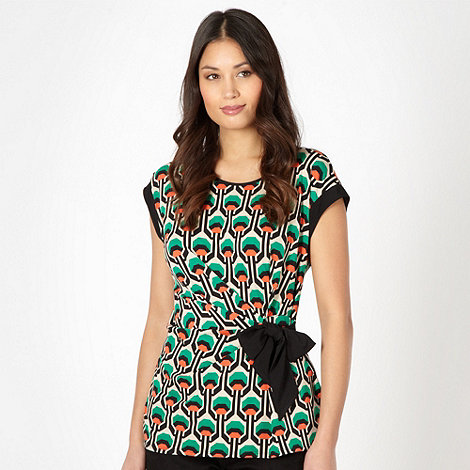 The Collection Petite - Petite green geometric tie waist top