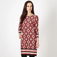 Red geometric striped tunic dress
