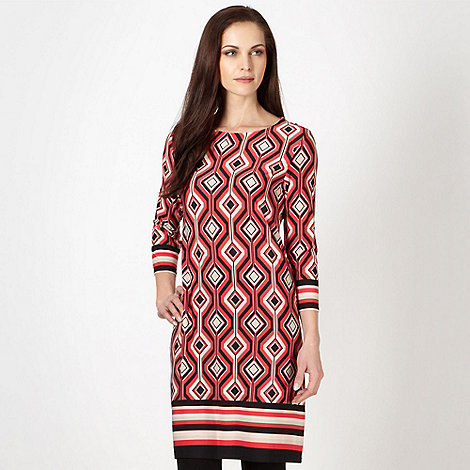 The Collection Petite - Petite red geometric striped tunic dress