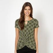 Lime geometric flower jersey top