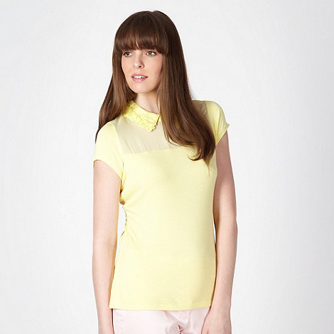 The Collection - Light yellow lace collar top