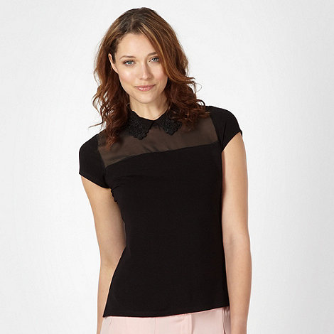 The Collection Petite - Petite black applique lace collar top