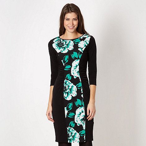 The Collection - Black floral ruched form fitting dress