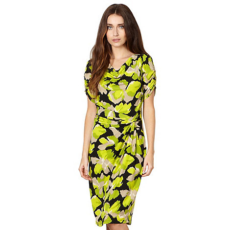 The Collection - Lime blurred floral knot front jersey dress