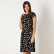 Black spotted fit and flare jersey dress