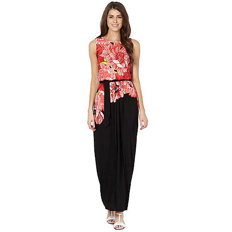 The Collection - Coral floral bodice jersey maxi dress