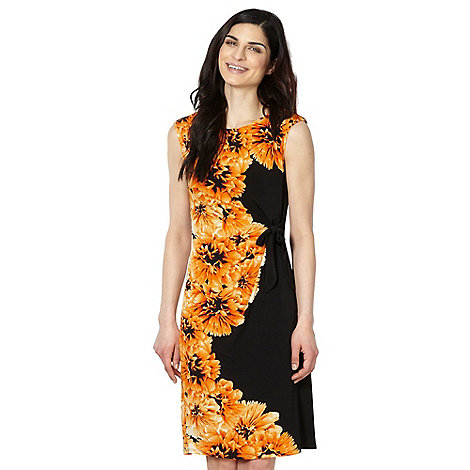 The Collection - Orange floral printed ruched shift dress