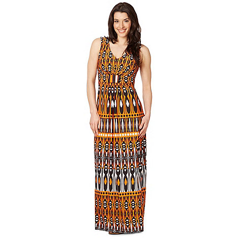 The Collection - Orange tribal striped maxi dress
