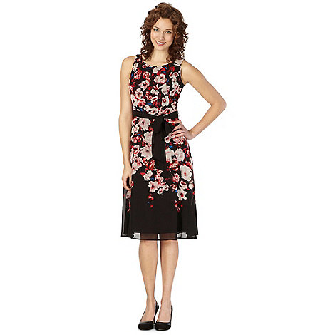 The Collection Petite - Petite black rose printed dress