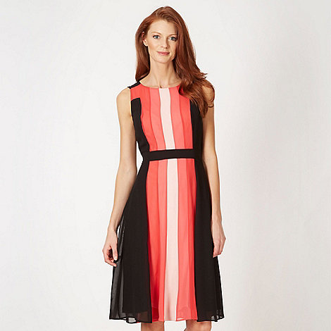 The Collection - Coral vertical colour block midi dress