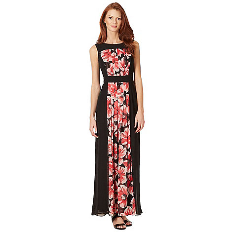 The Collection - Black pleated floral insert maxi dress