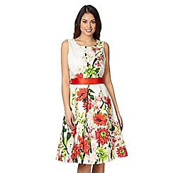 The Collection - Dark peach floral prom dress