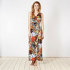 The Collection - Orange mixed jungle print jersey maxi dress