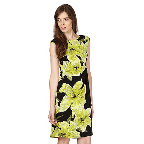 The Collection - Black lily printed tie side dress