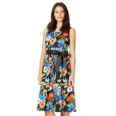 The Collection - Black colourful floral prom dress