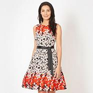 Red digital daisy print crepe prom dress