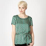 Green geometric satin shell top