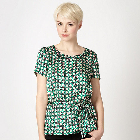 The Collection Petite - Petite green geometric satin shell top