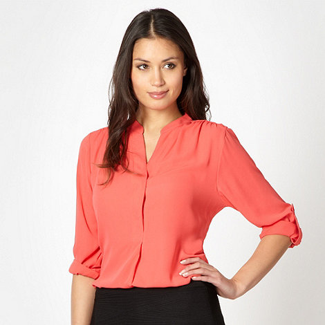 The Collection Petite - Petite coral chiffon button blouse
