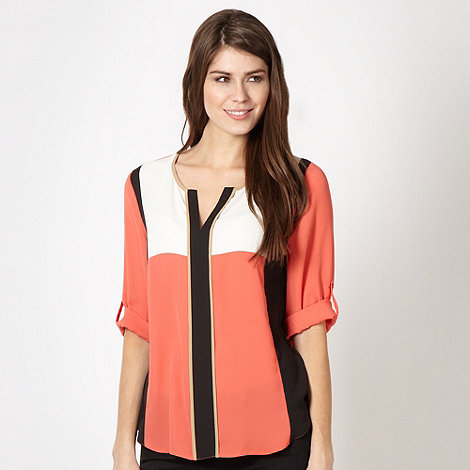 The Collection - Coral chiffon colour block top