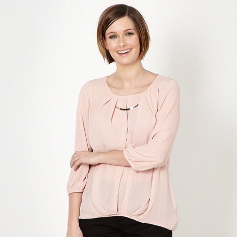 The Collection Petite - Petite pale pink pleated necklace trim top