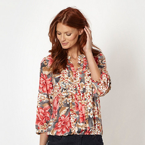 The Collection - Coral floral chiffon pintuck blouse