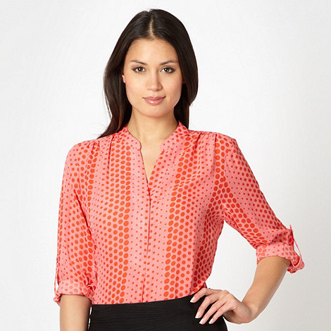 The Collection - Pink spotted chiffon button blouse