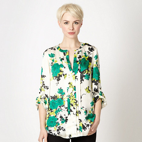 The Collection - Green rose pleat front satin top